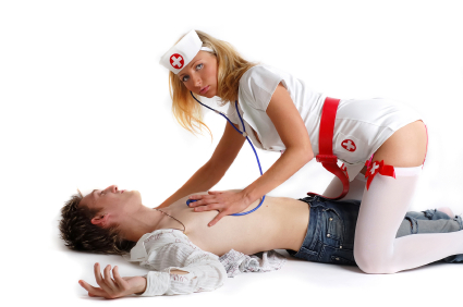 Sexy nurse with the patient