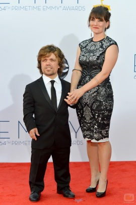 LOS ANGELES, CA - SEPTEMBER 23: Actor Peter Dinklage and Erica Schmidt arrive at the 64th Annual Primetime Emmy Awards at Nokia Theatre L.A. Live on September 23, 2012 in Los Angeles, California. (Photo by Frazer Harrison/Getty Images)